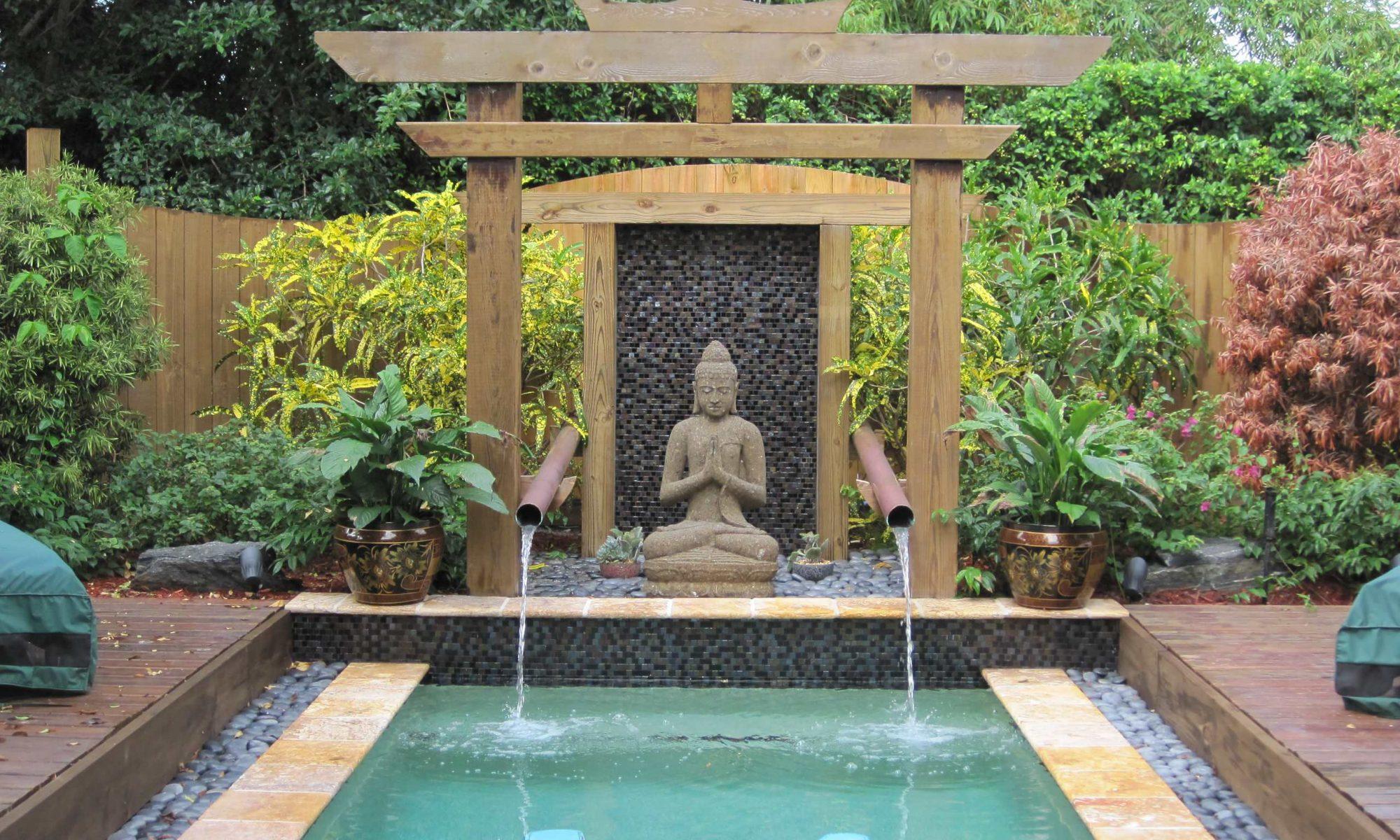 Budista en piscina estilo zen