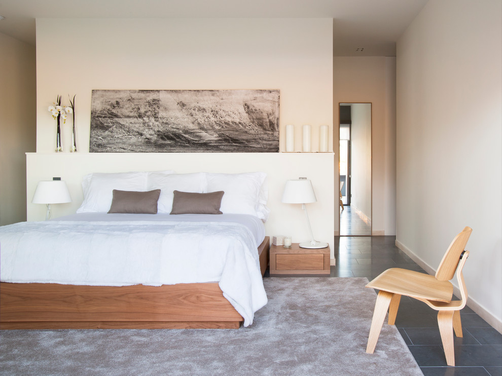 dormitorio moderno con alfombra gris