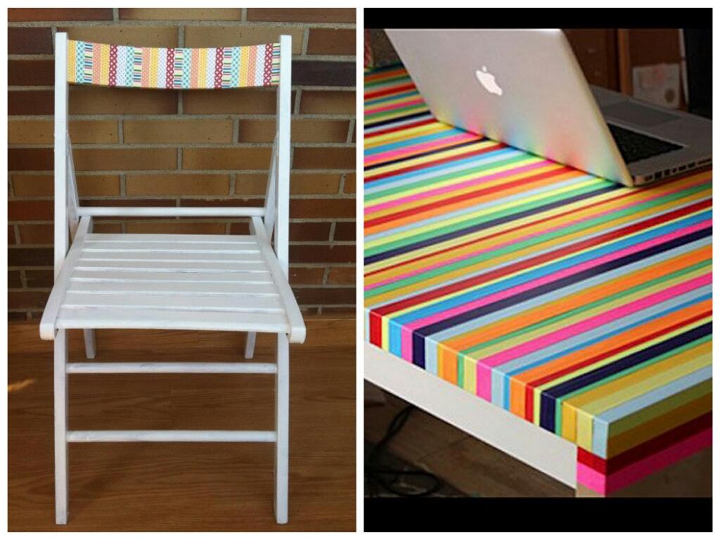 Mesa y silla decoradas DIY con cinta adhesiva