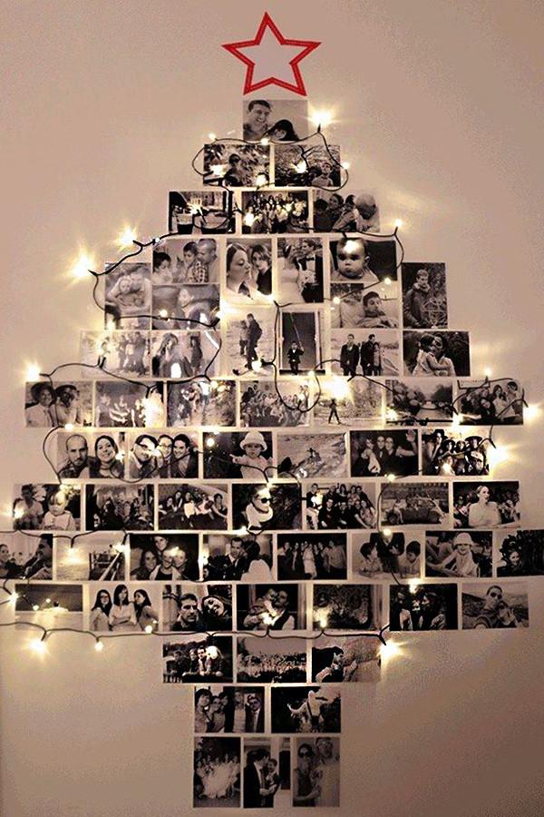 árbol de navidad con fotos