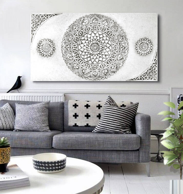 Cuadros sobre sofá