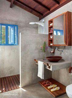 decoración de baños rústicos ducha madera