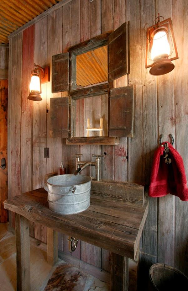 cuartos de baño rusticos, lavabo rustico de laton