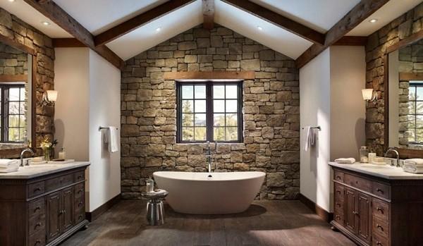 cuartos de baño rústicos con pared de piedra