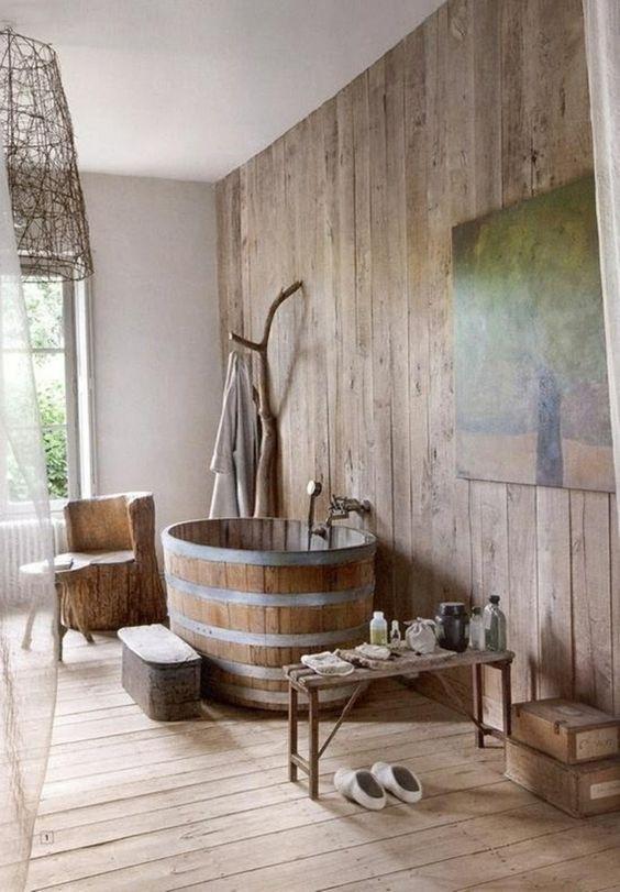 decoración de baños rústicos bañera redonda