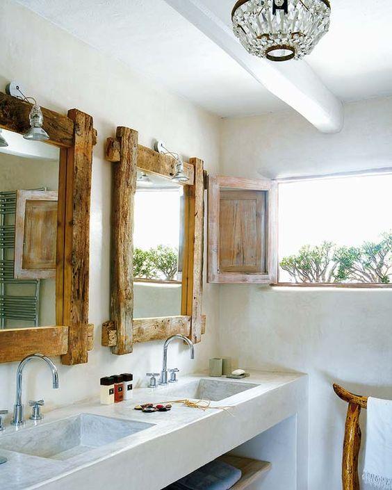 decoración de baños rústicos