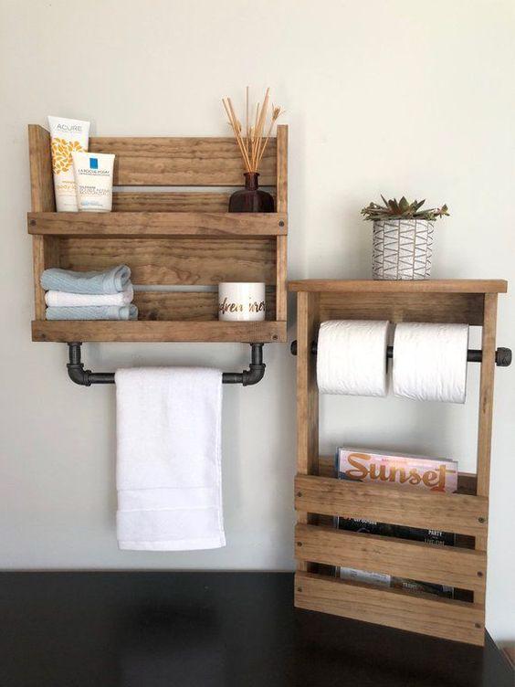 decoración de baños rústicos estantería